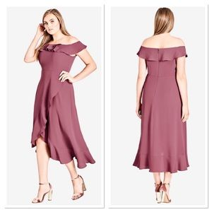 City Chic Off Shoulder Ruffle High Low Dress 22